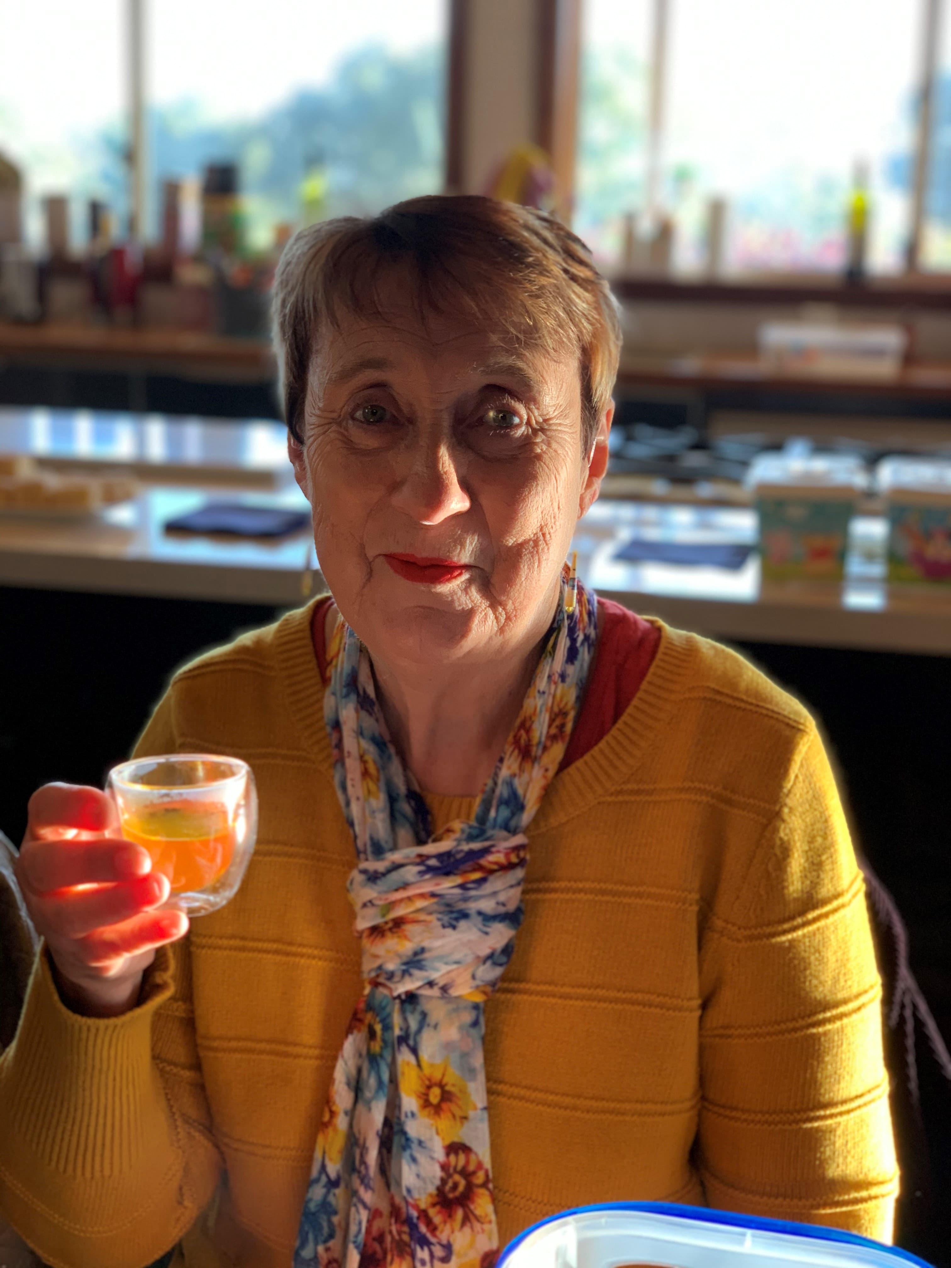 lady drinking saffron tea