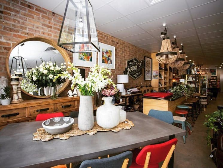 shop feuring colourful tables and charis