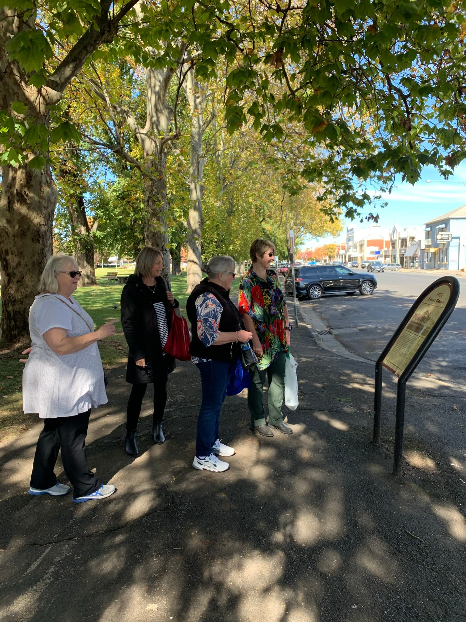 4 ladies standing on pavement looking at historic information board