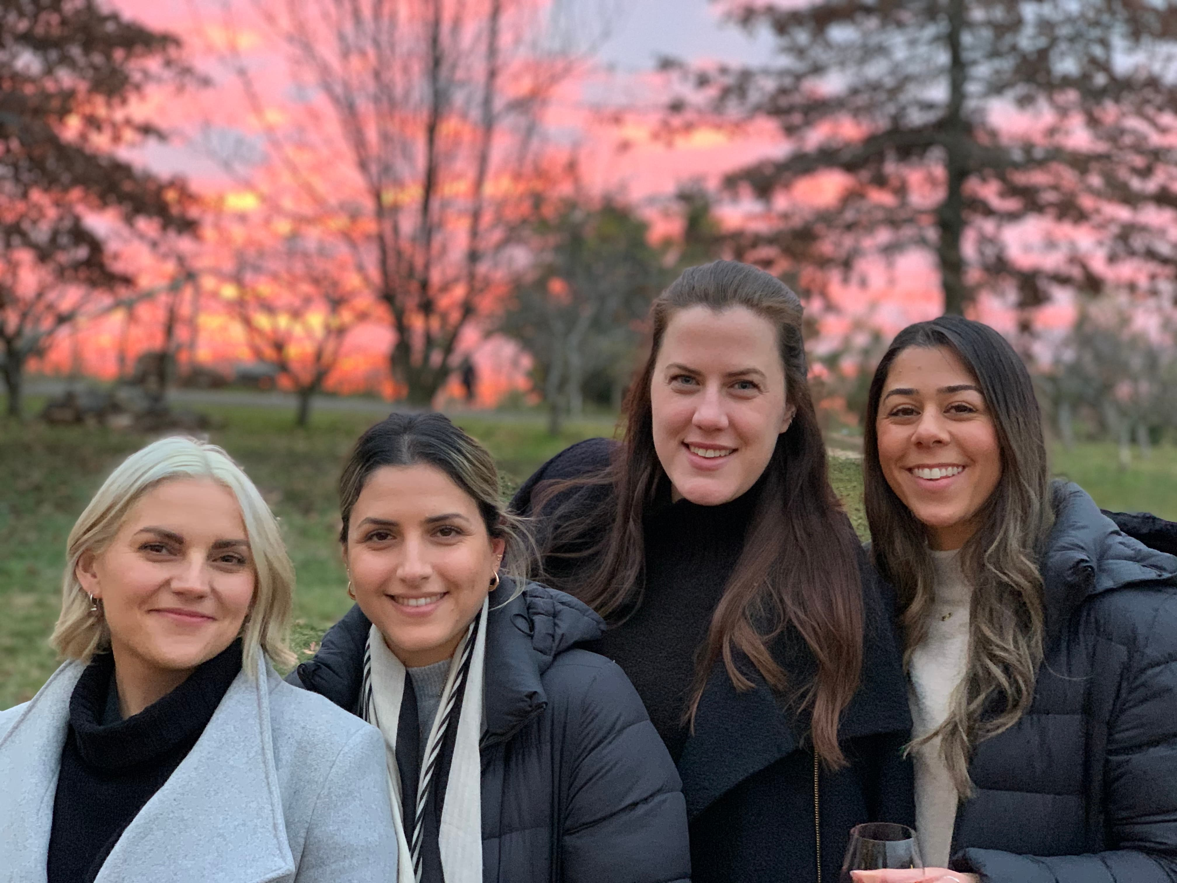 4 ladies in front of pink sky sunset