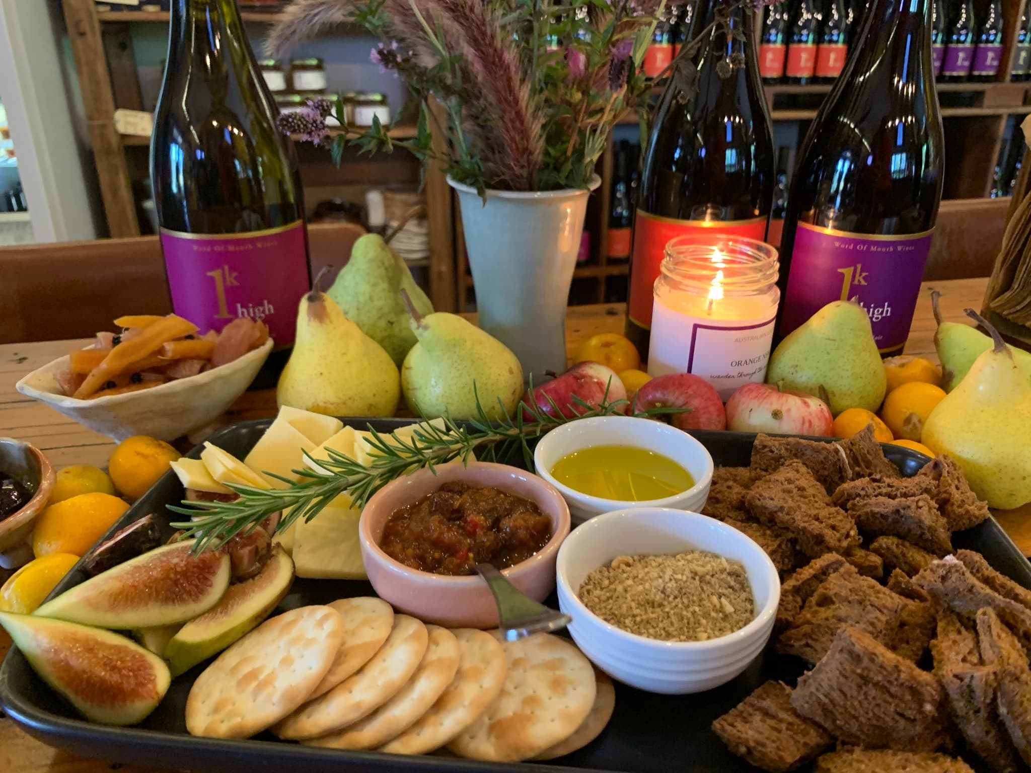 food and wine platter