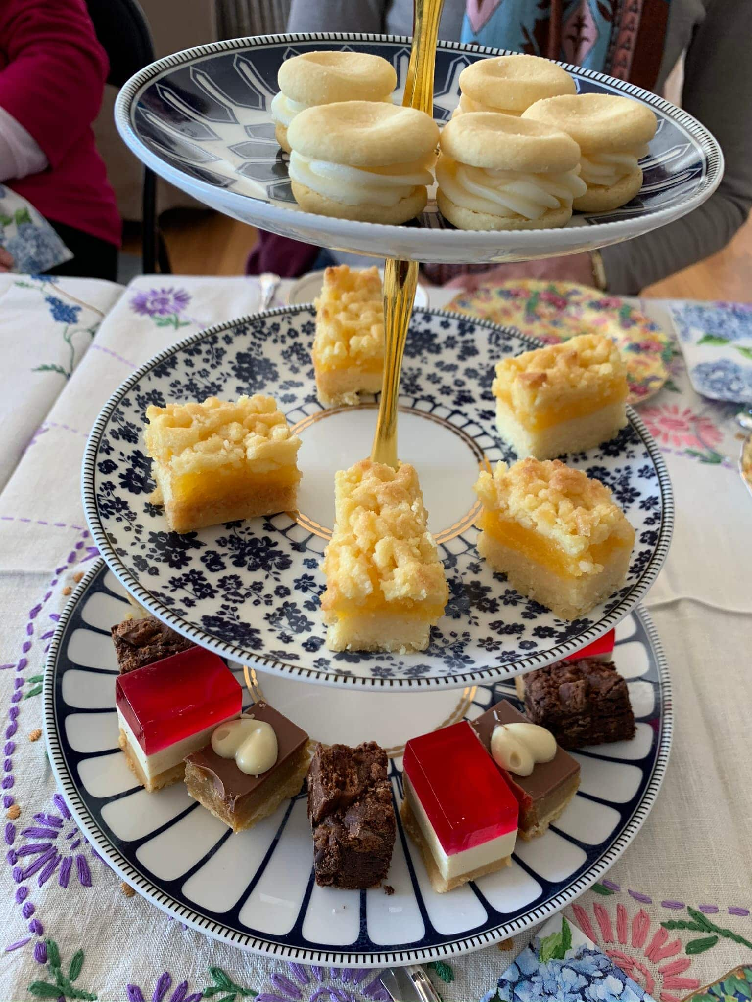 high tea stand of sweets