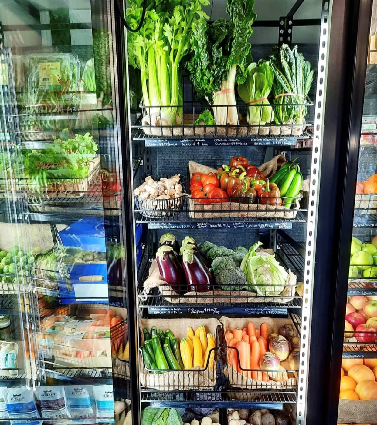 fridge full of organic produce